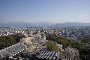 天守閣から360度のパノラマで松山市内が眺望できる