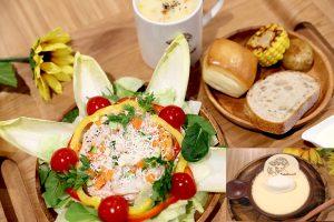 カフェ・フィンセントのヒマワリサラダと季節野菜のスープ(パン付)1,200円 ゴッホの大きな黄色いプリン¥650(税込)直径12㎝、昔ながらのカスタードプリン