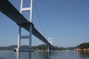 来島海峡大橋を真下から鑑賞できる