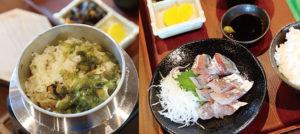 大島テラスでは新鮮な地元の魚介類を味わえる