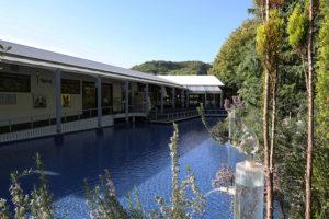 施設内には池を囲んでカフェダイニングがあり、ランチやディナーに人気